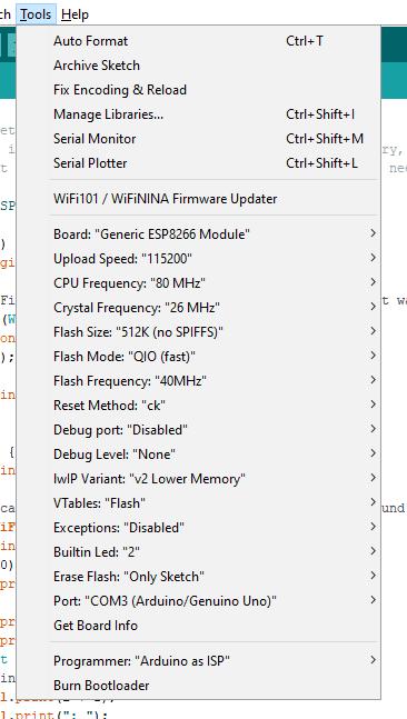 VMA 205 espcomm_upload_mem failed - Arduino(TM) Shields