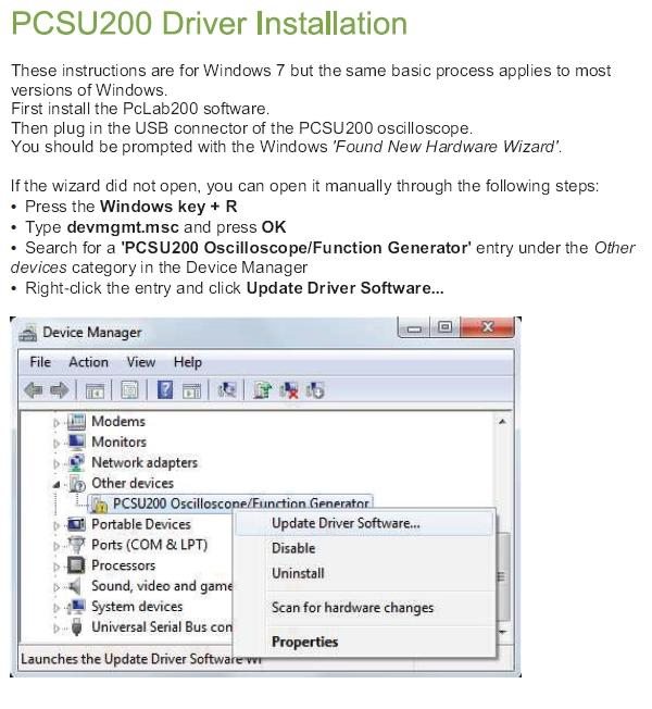 Pcsu200 windows 7 driver - PC Oscilloscopes and Recorders